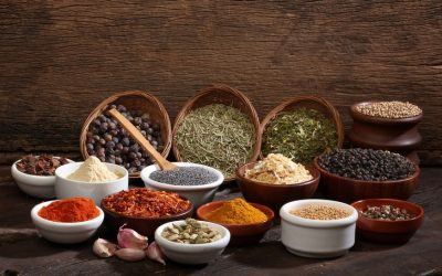 16460326 - various bowls of spices over wooden background  colours and textures